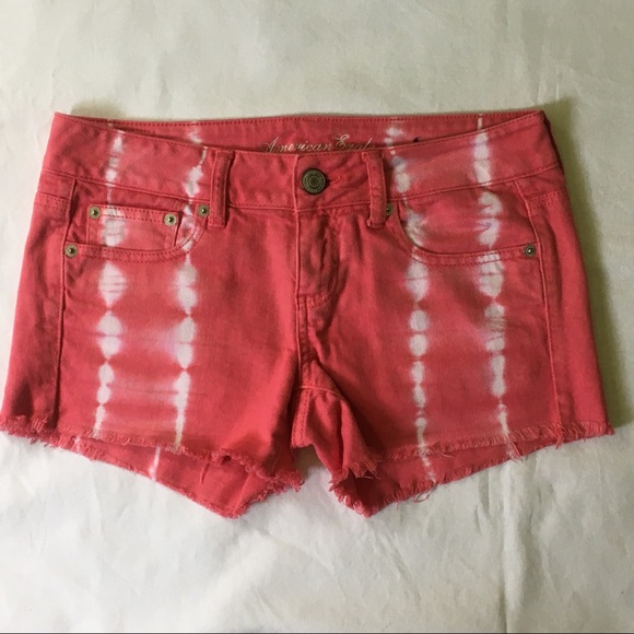 American Eagle shorts size 4 red white tie dyed